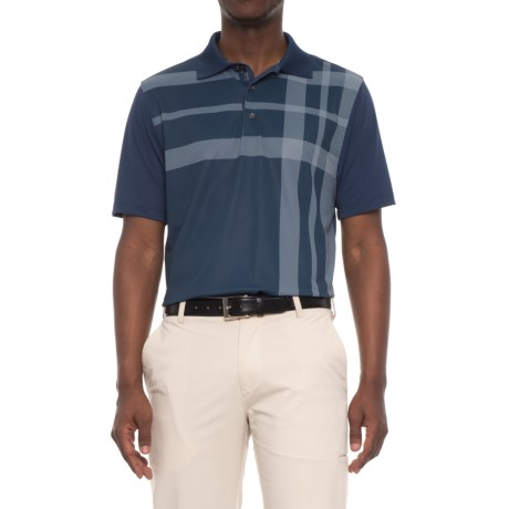 Bobby Jones XH2O Robertson Printed Plaid Golf Polo Shirt - Short Sleeve (For Men) in Midnight Ink
