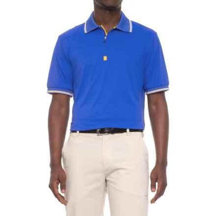 Bobby Jones XH2O Solid Pique Golf Polo Shirt - Zip Neck, Short Sleeve (For Men) in Marina Blue - Closeouts