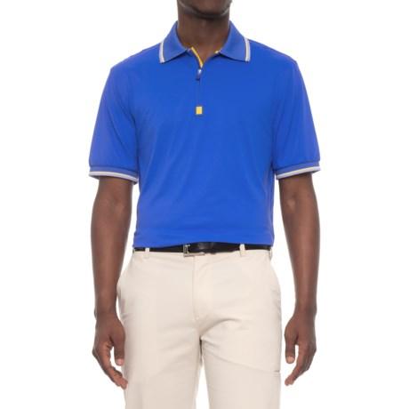 Bobby Jones XH2O Solid Pique Golf Polo Shirt - Zip Neck, Short Sleeve (For Men) in Marina Blue
