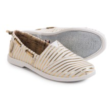 BOBS from Skechers Chill Luxe Beach Club Shoes - Slip-Ons (For Women) in White/Gold - Closeouts