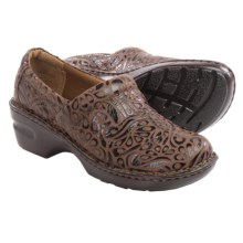B.O.C. by Born Peggy Leather Clogs (For Women) in Dark Brown Tooled Full Grain - Closeouts