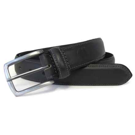 Boconi Feather-Edge Stitched Leather Belt (For Men) in Black - Closeouts