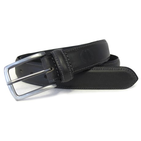 Boconi Feather-Edge Stitched Leather Belt (For Men) in Black