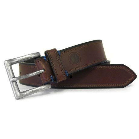 Boconi Leather Belt with Antique Nickel Buckle (For Men) in Brown