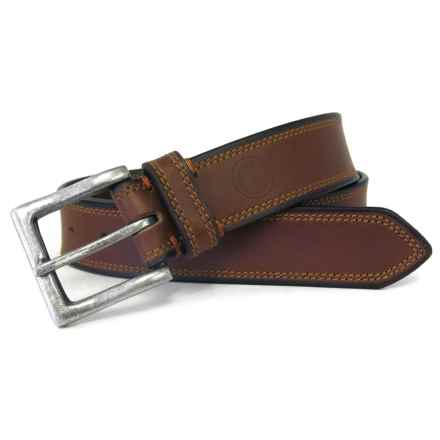 Boconi Leather Belt with Antique Nickel Buckle (For Men) in Cognac - Closeouts