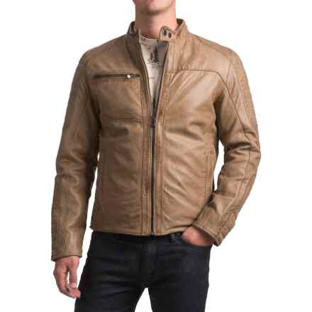 Bod & Christensen Atlantic Style Moto Jacket - Sheepskin Leather (For Men) in Taupe - Closeouts