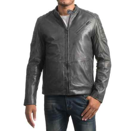 Bod & Christensen Atlantic Style Moto Jacket - Sheepskin Leather, Mesh Lining (For Men) in Charcoal - Closeouts
