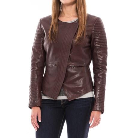 Bod & Christensen Collarless Leather Jacket (For Women) in Burgundy