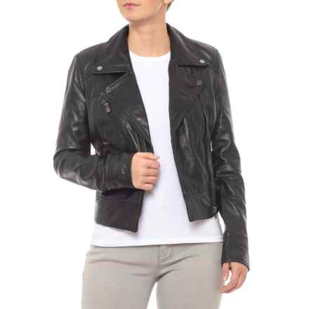Bod & Christensen Cropped Leather Biker Jacket (For Women) in Black - Closeouts