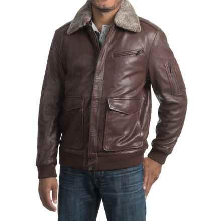 Bod & Christensen Leather Bomber Jacket (For Men) in Chestnut - Closeouts
