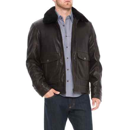 Bod & Christensen Leather Jacket - Shearling Collar (For Men) in Black/Brown - Closeouts