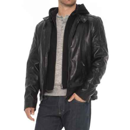 Bod & Christensen Moto Leather Jacket - Removable Hood (For Men) in Black - Closeouts