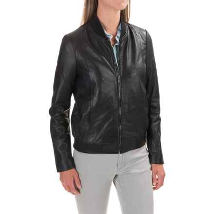 Bod & Christensen Rib-Collar Leather Bomber Jacket (For Women) in Black - Closeouts