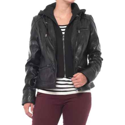 Bod & Christensen Roxanne Hooded Leather Jacket (For Women) in Black - Closeouts