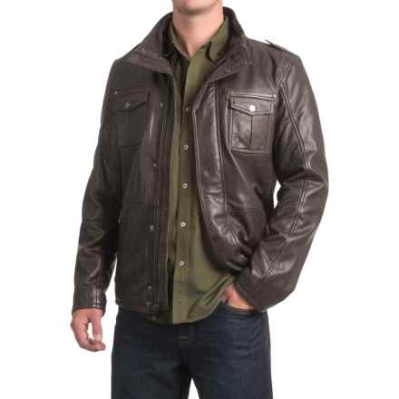 Bod & Christensen Sheepskin Leather Aviator Jacket - Sherpa Collar (For Men) in Brown - Closeouts