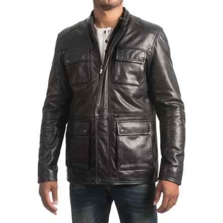 Bod & Christensen Sheepskin Leather Barn Jacket (For Men) in Black - Closeouts