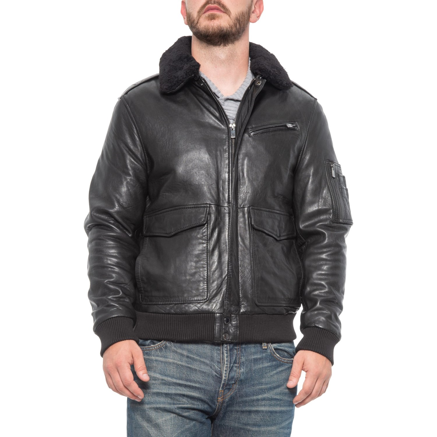 crazy price incredible prices fashion Bod & Christensen Sheepskin Leather Bomber Jacket (For Men ...