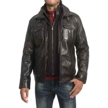 Bod & Christensen Sheepskin Leather Jacket - Zip-Out Knit Collar (For Men) in Black - Closeouts
