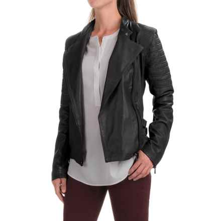 Bod & Christensen Short Collar Army Jacket - Leather, Full Zip (For Women) in Black - Closeouts