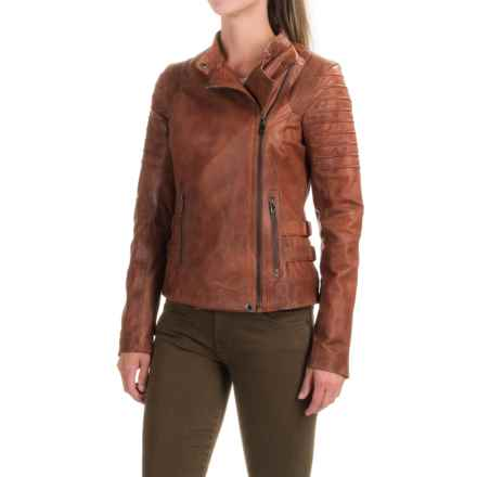 Bod & Christensen Short Collar Army Jacket - Leather, Full Zip (For Women) in Rust - Closeouts