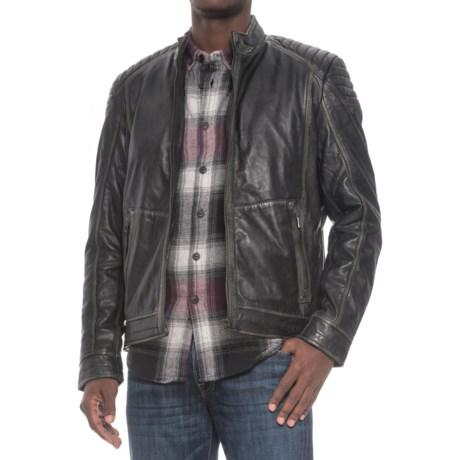 Bod & Christensen Vintage Leather Moto Jacket (For Men) in Black/Beige