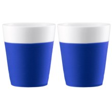 Bodum Silicone-Sleeved Porcelain Mugs - 2-Piece, 10 fl.oz. in Blue - Closeouts