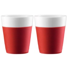 Bodum Silicone-Sleeved Porcelain Mugs - 2-Piece, 10 fl.oz. in Red - Closeouts