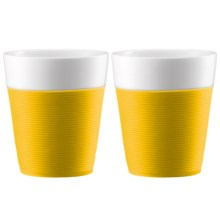 Bodum Silicone-Sleeved Porcelain Mugs - 2-Piece, 10 fl.oz. in Yellow - Closeouts