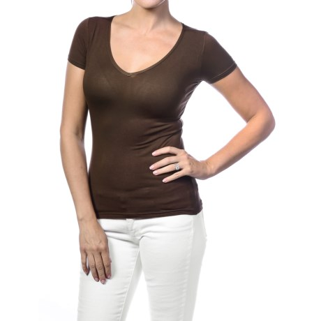 Body Bark Basic V Neck Shirt Short Sleeve (For Women)