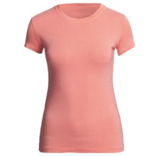 Body Bark Crew Neck Shirt - Micromodal®, Short Sleeve (For Women) in Shell Pink - Closeouts