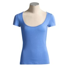 Body Bark Deep Scoop Neck Shirt - Micromodal®, Short Sleeve (For Women) in Tropical Blue - Closeouts