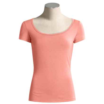 Body Bark Scoop Neck Shirt - Modest, Micromodal®, Short Sleeve (For Women) in Shell Pink - Closeouts