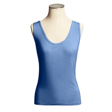 Body Bark Tank Top - Modest Scoop Neck (For Women) in Shell Pink
