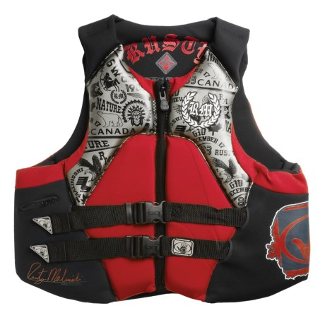 Body Glove 6W Rusty Malinoski Signature PFD Life Jacket - USCG-Approved, Type III (For Men) in Silver/Black/Red