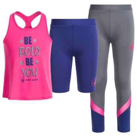 Body Glove Activewear Set - Racerback Tank Top, Leggings and Shorts (For Little Girls) in Pink - Closeouts