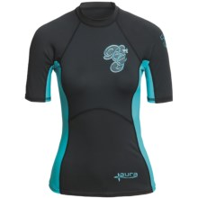 Body Glove Aura Rash Guard - UPF 50, Short Sleeve (For Women) in Black/Aqua - Closeouts