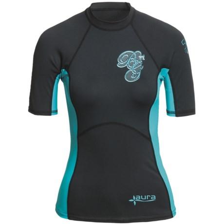 Body Glove Aura Rash Guard - UPF 50, Short Sleeve (For Women) in Black/Aqua
