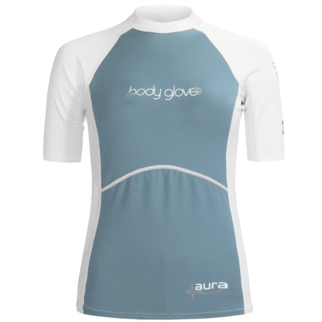 Body Glove Aura Rash Guard - UPF 50, Short Sleeve (For Women) in Bonnie Blue/White
