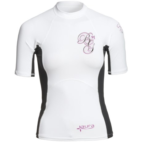 Body Glove Aura Rash Guard - UPF 50, Short Sleeve (For Women) in White/Black