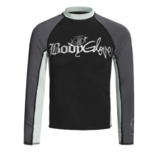 Body Glove Basic Deluxe Rash Guard - Long Sleeve (For Men) in Black/Gunmetal/Bright Silver - Closeouts