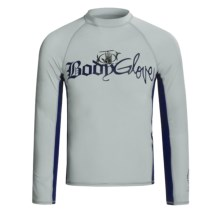 Body Glove Basic Deluxe Rash Guard - Long Sleeve (For Men) in Bright Silver/Navy/Bright Silver - Closeouts