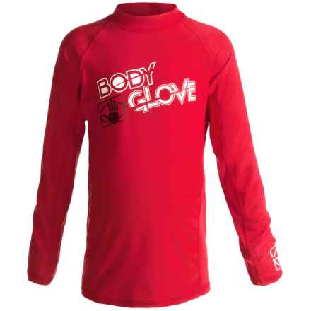 Body Glove Basic Junior Rash Guard - UPF 50+, Long Sleeve (For Kids and Youth) in Red - Closeouts