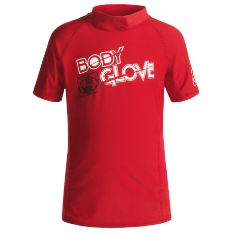Body Glove Basic Junior Rash Guard - UPF 50+, Short Sleeve (For Kids and Youth) in Red