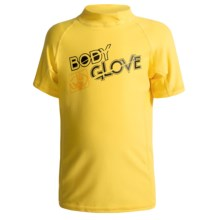 Body Glove Basic Junior Rash Guard - UPF 50+, Short Sleeve (For Kids and Youth) in Yellow - Closeouts