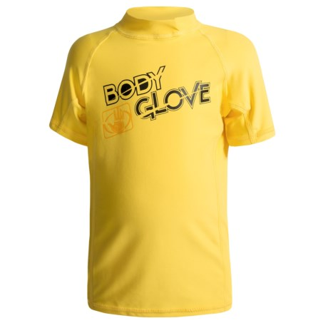 Body Glove Basic Junior Rash Guard - UPF 50+, Short Sleeve (For Kids and Youth) in Yellow