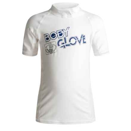 Body Glove Basic Junior Rash Guard - UPF 50+, Short Sleeve (For Little and Big Kids) in White - Closeouts