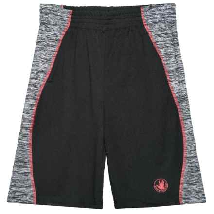Body Glove Black and Red Stripe Active Shorts (For Big Boys) in Black - Closeouts