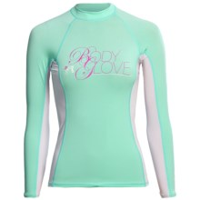 Body Glove Deluxe Rash Guard - Long Sleeve  (For Women) in Ice Green/White - Closeouts