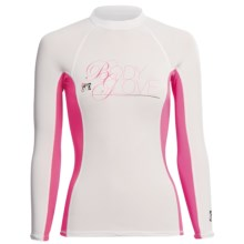 Body Glove Deluxe Rash Guard - Long Sleeve  (For Women) in White/Pink - Closeouts