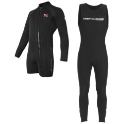 Body Glove Explorer X2 Diving Wetsuit - 5mm, John and Jacket Combo (For Men) in Black/Royal/Black